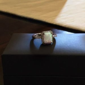 Lab Created Opal Silver Ring Size 8